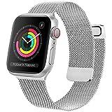 Oumida Cinturino Comapatibile per Apple Watch Cinturino 44mm 42mm 40mm 38mm, Morbido Metallo Cinturini per Apple Watch Iwatch Serie 6 5 4 3 2 1 SE, 2 Calamita Super (42/44mm Argento)