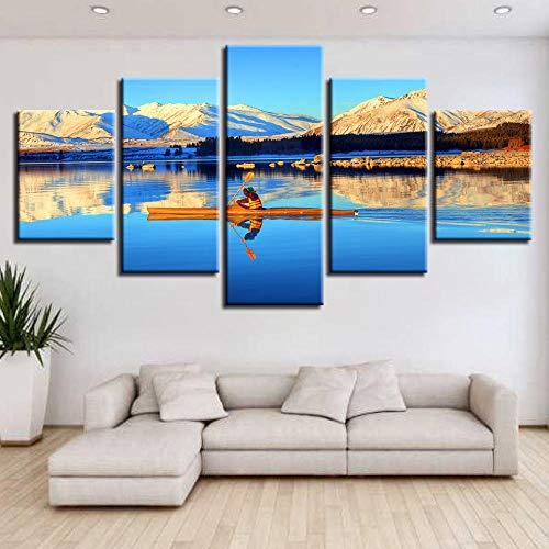 Murturall 5 stuks afdrukken op canvas, boot, sneeuwberg, zonsondergang canvas schilderij moderne muurkunst schilderijen wooncultuur poster 200x100cm