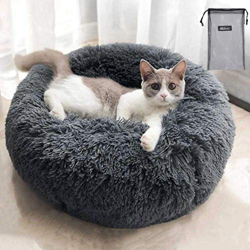 QCHOMEE Soft Plush Round Pet Bed Donut Cuddler Cozy Calming...