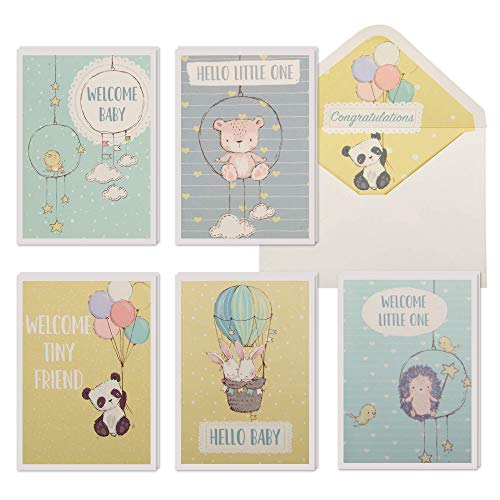 10 Baby Congratulations Cards w/Envelopes & Stickers, Bulk Boxed Set Assortment of New Baby Greeting Cards. Assorted Gender Neutral Watercolor Congrats Notes Pack to Welcome a New Baby Boy or Girl