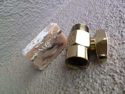 Brass Shower Flow Control Valve with Handmade Soap (2 Piece Bundle) - Titanium Gold from NEATitems