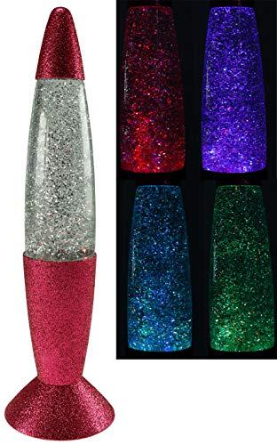 ChiliTec Twister Lampe de table décorative Rose métallisé avec paillettes et changement de couleur LED Hauteur 37 cm
