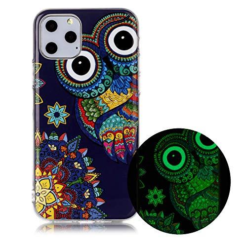Miagon Leuchtend Luminous Hülle für iPhone 12,Fluoreszierend Licht im Dunkeln Handyhülle Silikon Case Handytasche Stoßfest Schutzhülle,Blau Eule