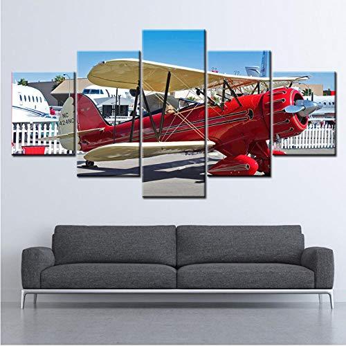 Wuyii Schilderij op canvas Lezen Vliegtuig Klaar Vliegen 5 stuks muurkunst Schilderij Modulaire behang Posters afdrukken Woonkamer Cultuur 20 x 35 cm x 2/20 x 45 cm x 2/20 x 55 cm x 1
