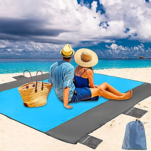 79×83 inch Large Thick Sand Free Beach Blanket with 6 Zipp...