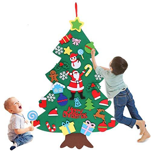 Huker Sapin de Noel en Feutre, DIY Feutre Arbre De Noël avec 32pcs Ornements Détachables. Cadeaux de Noël pour Les Enfants Noël Décoration. Décoration Murale de Porte Vitrine (100 x 70cm)