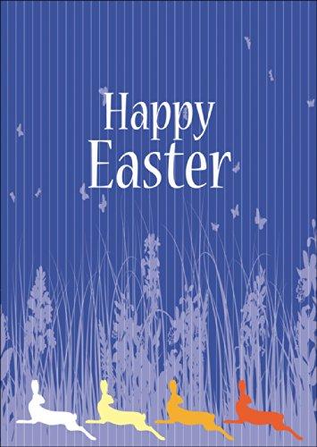 Mooie paaskaart met kleurrijke paashazen: Happy Easter • ook voor direct verzenden met uw persoonlijke tekst als inlegger. • vrolijke premium wenskaart met paasmotieven met envelop voor vrienden, familie en collega 's.