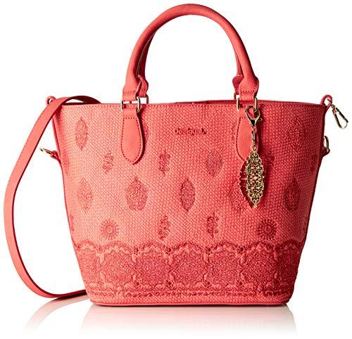 Desigual Damen Bag Paola Florida Women Henkeltasche, Pink (Rosa Plateado), 16.5x25.8x26.2 cm
