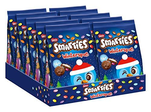 Nestlé SMARTIES Winterspaß, Milchcremepralinen mit Schokolinsen, 10er pack (10 x 120g)