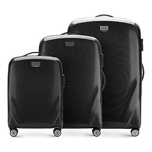 Stabiler Reisekoffer Koffer-Set Trolley von Wittchen Material polycarbonat 4 Lenkrollen Zahlenschloss 11KG Farbe Schwarz