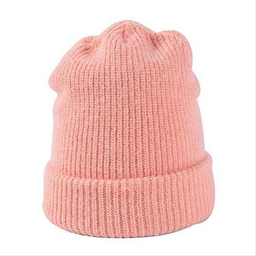 HAT Strickmütze/Beanie mit , Bonbonfarbene Strickmütze, Damen-Wintermütze aus weicher, nachgeahmter, orangefarbener Lockenwolle