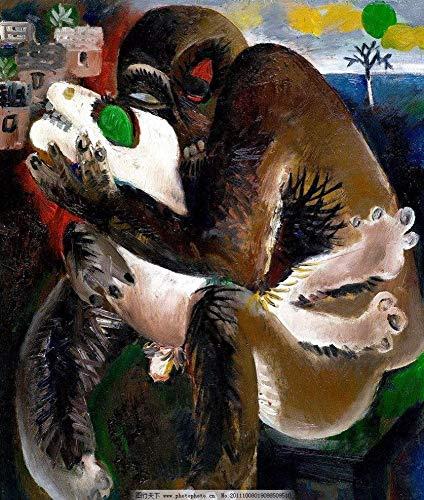 Olieverfschilderij, met de hand beschilderd, op doek, abstract, dierverf, duivel en zak, vintage, modern, Oosters, origineel voor volwassenen, woonkamer, slaapkamer, ontvangst, wanddecoratie 65*65cm