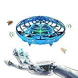 ONGNAMOドローン 子供おもちゃ ミニ無人機 ジェスチャー制御赤外線誘導 LED ライト付き 充電式 360度回転 プレゼント小型飛行機おもちゃ (青)