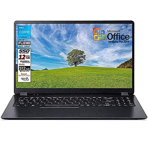 Notebook SSD slim Acer Intel i3 10 th, RAM 12 GB, SSD 512GB m2, display 15.6 Full hd led, Svga Intel HD 600, 3 USB, Wi-Fi, hdmi, BT, Win 10 Pro, Office Pro 2019, Pronto all'Uso, Garanzia Italia
