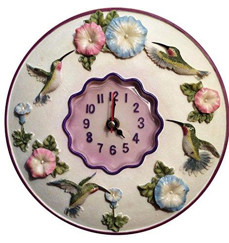"Hummingbird Clock, 8"" Round, 3D Polystone- Hummingbird Wall Decor for Kitchen, Nursery, Bedroom, Patio, Bathroom, Office Hummingbird Decoration - Best Hummingbird Gift Idea, Hummingbird Decoration."