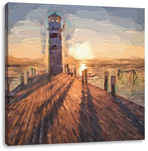 Vuurtoren bij de steigerCanvas Foto Plein | Maat: 70x70 cm | Wanddecoraties | Kunstdruk | Volledig gemonteerd