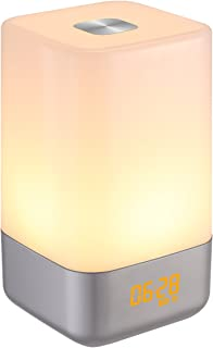 AMIR Wake-Up Light Beside Lamp Alarm Clock with Sunrise Simulation, 5 Natural Sounds, Rechargeable, Touch Sensor Multicolor Dimmable Night Light, Simple Design and Healthy Style (Non-Plug in)