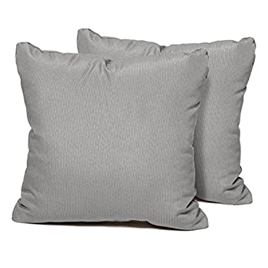 TK Classics Square Outdoor Throw Pillows, Set of 2, Grey