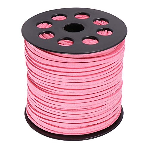 Amosfun Cordones de cuero sintético DIY accesorios de joyería de punto de imitación de gamuza abalorios hilo para pulseras de bricolaje collar haciendo suministros de fiesta rosa