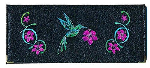 Syl'la Fall Leder Tür lange Scheckbuch für Scheckbuch mit der Ferse auf der Seite Schwarz - Colibri