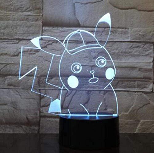 3D Luz De Noche Led Deco LED Lámpara Bebé pikachu Ilusión Lámpara de mesa Luces con para la decoración del partido Presentes...