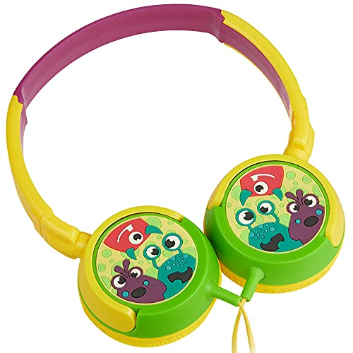Volkano Wired Kids Headphones with Hearing Protection, Padded Lightweight Kiddy Headset, 85 dB Safe for Children, Girls/Boys, E-Learning, Travel, PC, Cellphones [Yellow/Green] Monster Kiddies Series