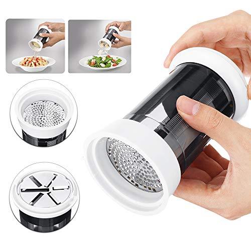 HARVESTFLY Leifheit Moulin à main avec 2 couteaux interchangeables Idéal pour servir à table, pour fromage, ail ou chocolat, passe au lave-vaisselle Râpe à parmesan