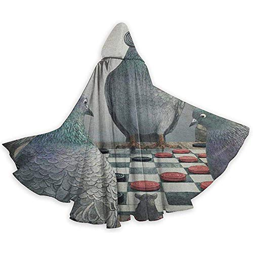 Zome Lag Mannen Womens Lengte Mantels, Volwassene Hooded Mantel, Wizard Cape, Role Play Dress Up,Duiven spelen Checkers Grappige Duif Halloween Capuchons,Party Cosplay Costume,Cloak Cape
