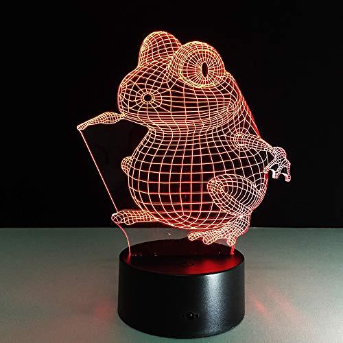 Frosch Form 3D Tischlampe Kinder Spielzeug Geschenk Visual Night Ed Nachtlicht LED Baby Schlafzimmer Schlafzimmer Dekoration Nachtlicht