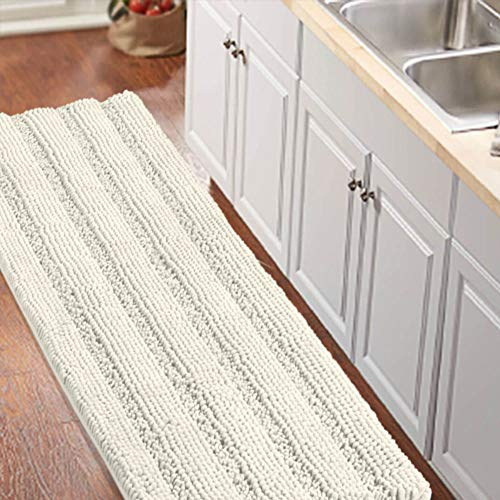 """Non-Slip Kitchen/Bath Rug Runner Luxury Chenille Shaggy Bathroom Rug Mat Ivory White Bath Mat, Ultra Soft and Cozy, Super Absorbent Large Shaggy Rugs, Washable Carpet Kitchen Mats, 59""""x20"""", Ivory"""