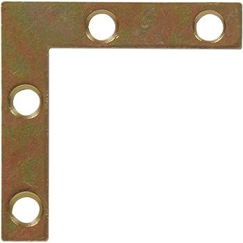 Hillman Hardware Essentials 852201 Flat Corner Iron Zinc and Yellow Dichromate 2-1//2 x 1//2-4 Pack