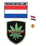 A-ONE Paquete de 3 parches de marihuana de Amsterdam + parche termoadhesivo de Holanda + pin de solapa de metal con bandera de Holanda, insignia bordada de viaje ciudad, pin de emblema