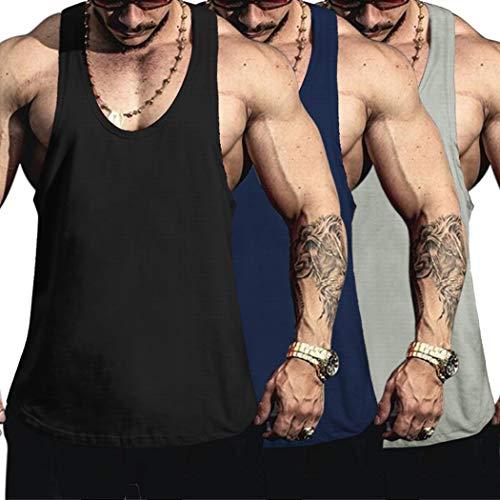 COOFANDY Tank Top Herren Sport Sommer Ärmellos Gym Muskelshirts Fitness Trainingsshirt Männer Tanktop (Schwarz+Blau+Grau M,3er Pack)