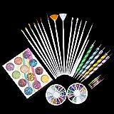 DESON Nailart Set Nail Art Tools 15 Nailart Pinsel Set 15 Nail Art Stripes 5 Nail Art Dotting Tool 2 Boxen Nail Art Strass Steine 12 Boxen Sterne Nail Pailletten für Nageldesign Dekoration