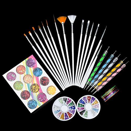 DESON Kit de Decoración de Uñas, Kits de Decoración para Manicura y Pedicura, Pinceles, Cintas de Rayas de Uñas, Cajas de Diamantes y Estrellas.