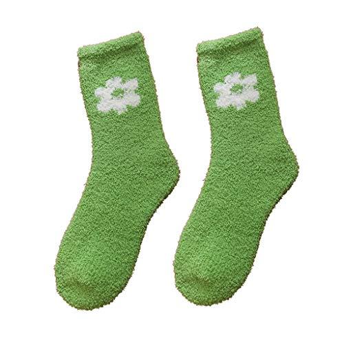 Lazzboy Frauen Mädchen Weiches Bett Boden Socken Warme Blume Schlafen Mittlere Strümpfe Kuschelsocken Bettsocken Kuschel Flauschig Weiche Haussocken Dicke (Grün)