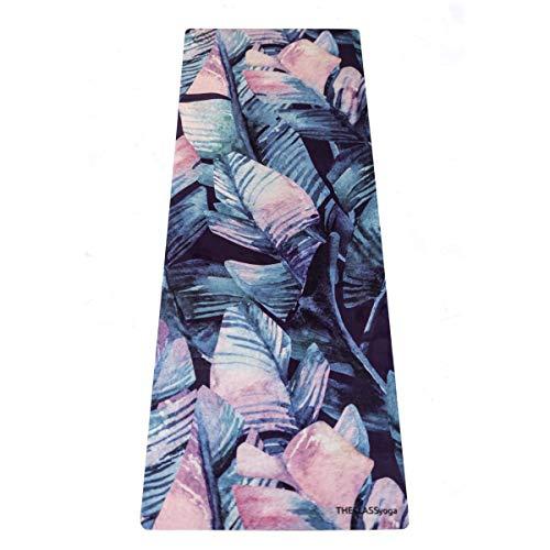 THECLASSyoga, Esterilla Mat Yoga de Micofibra, Antideslizante eco-friendly, antideslizante, de superficie suave de microfibra y base de caucho natural de árbol. (PALMERAS)
