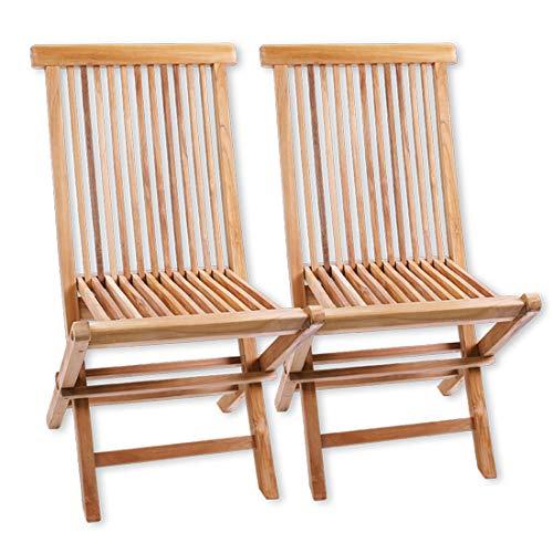 Terra Casa Terra Casa Gartenstuhl 2er Set Manado Teak Holz Gartenmöbel Stühle Klappstuhl Stuhl Premiumqualität