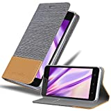 Cadorabo Hülle für WIKO Sunny 3 in HELL GRAU BRAUN - Handyhülle mit Magnetverschluss, Standfunktion & Kartenfach - Hülle Cover Schutzhülle Etui Tasche Book Klapp Style
