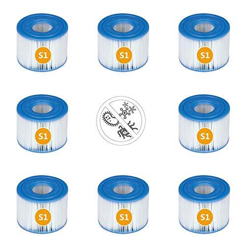 BBUY Cartucho de filtro S1, cartuchos de filtro de piscina para Intex 29001E PureSpa tipo S1,S1, cartuchos de repuesto para Intex 29001 (8 unidades)