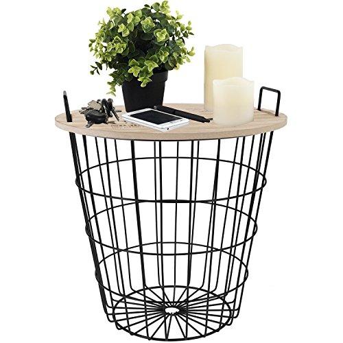 Beistelltisch rund 38xH40cm, schwarzer Metallkorb mit abnehmbarer Holzplatte - Aufbewahrungskorb Couchtisch Wohnzimmertisch Blumentisch Loungetisch