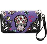 La Dearchuu Sugar Skull Purse for Women Sale, Western Wristlet Clutch Bag, Clutch Wallet with...