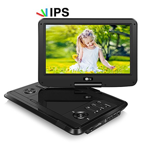 CUTRIP 11.6 Inch HD Portable DVD Player IPS Screen with Rechargeable Battery, Swivel Screen, SD Card Slot and USB Port - Black