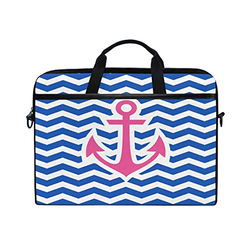 GIGIJY Blue Chevrons with Pink Nautical Anchor Laptop Case Bag Canvas Briefcase 13 in 13.3 in 14 in 15 in for Kids Boys Girls Women Men