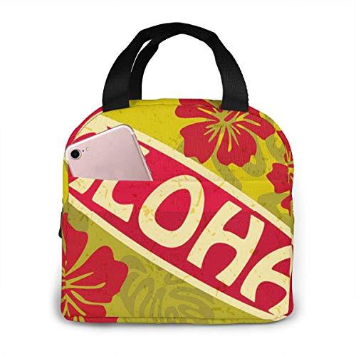 Bolsa de almuerzo Aloha de surf retro, bolsa de almuerzo aislada reutilizable, caja de asas más fría con bolsillo frontal con cierre de cremallera para mujer hombre