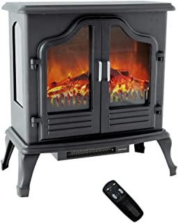 FLAME&SHADE Portable Electric Fireplace Stove Heater, Freestanding with Remote Control, Timer and Thermostat, 750w/1500w, 25 inch