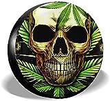 PageHar Polyester-Radkappen, Ersatzreifenabdeckung, Reifenschutz wetterfest, Skull Weed-Reifenabdeckung
