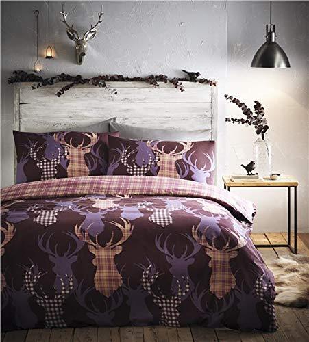 Homemaker  Stag duvet set tartan check reverse side bedding quilt cover & pillow cases (King)