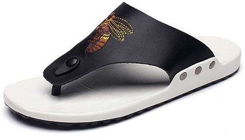 EGS-chaussures Tongs en Cuir Sandales Chaussures de Plage Pantoufles Hommes Chaussures de Cricket (Couleur   Noir, Taille   42)