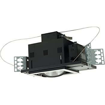 Jesco Lighting MGP20-3WB Modulinear Directional Lighting For New Construction Double Gimbal PAR20 3-Light Linear Black Interior With White Trim